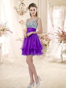 Best Straps Short Purple Bridesmaid Dress With Sequins