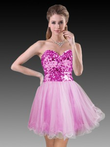Sweetheart Hot Pink Short Dama Dress with Sequins