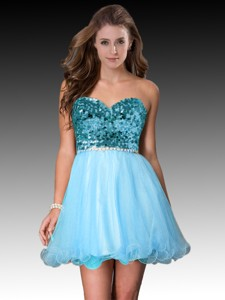 Lovely Sweetheart Short Baby Blue Dama Dress with Sequins