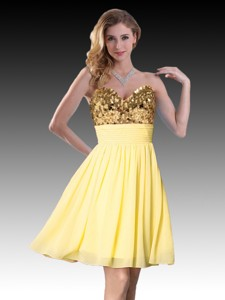 Pretty Sequined Short Yellow Dama Dress in Chiffon
