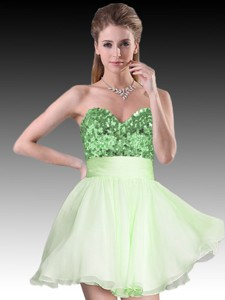Simple Sequined Short Green Dama Dress in Organza