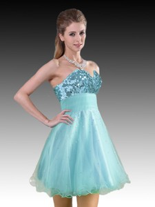 Classical Aqua Blue Short Dama Dress with Sequins and Beading