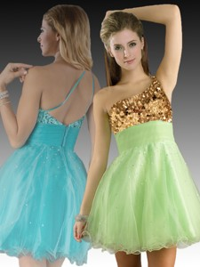 One Shoulder Beaded and Sequined Short Dama Dress in Yellow Green