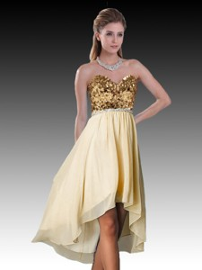 High Low Champagne Dama Dress with Sequins and Beading
