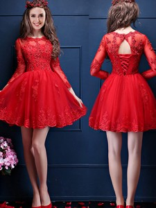 Classical Scoop Three Fourth Length Sleeves Short Bridesmaid Dress with Beading and Lace