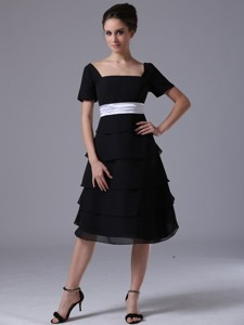 Black Tiered Skirt Square Black Wedding Party Chiffon Mother Of The Bride Dress