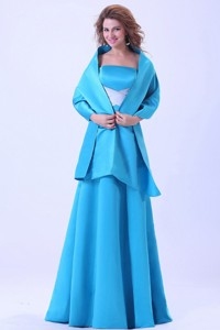 Blue Mother Of The Bride Dress With Brush Train Satin