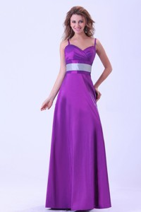 Purple Mother Of The Bride Dress With Belt Spaghetti Straps Floor-length