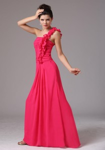 Stylish Coral Red One Shoulder Ruched Decorate Bust Bridesmaid Dress With Floor-length In New Milford Conn