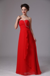 Red Sweetheart Beaded Ruch Chiffon Bridesmaid Dress For Prom Party In Lawrenceville Georgia