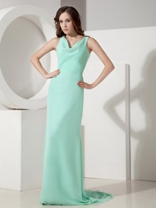 Simple Apple Green Mother of the Bride Dress Column V-neck Sweep Chiffon Bow Sweep Train