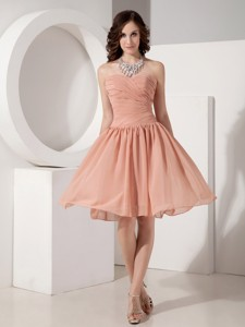 Customize Simple Empire Sweetheart Chiffon Ruched Evening Dress Knee-length