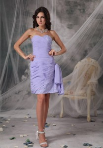 Beautiful Lilac Column Sweetheart Homecoming Dress Chiffon Beading Ruch Handkerchief Beaded Decorate