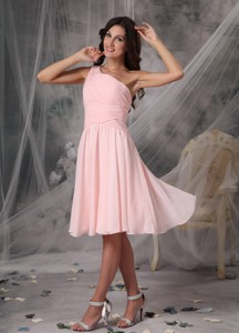 Custom Baby Pink Empire Homecoming Dress One Shoulder Knee-length Chiffon
