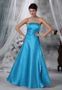 Fort Dodge Iowa Beaded Decorate Strapless Floor-length Teal Satin Prom Evening Dress