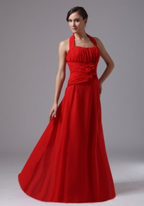 Halter And Ruched Bodice Red Bridesmaid Dress In Borrego Springs California With Hand Made Flower
