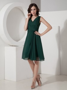 Olive Princess V-neck Mini-length Chiffon Ruched Bridesmaid Dress