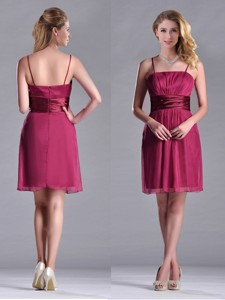 Cheap Spaghetti Straps Chiffon Empire Bridesmaid Dress With Ruching