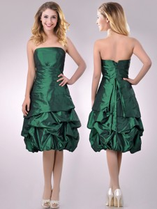 Classical Taffeta Strapless Bubble Bridesmaid Dress In Dark Green