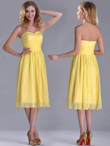 Discount Pleated Yellow Chiffon Bridesmaid Dress In Tea Length