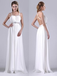 New Style Beaded Top And Waist White Bridesmaid Dress With Criss Cross