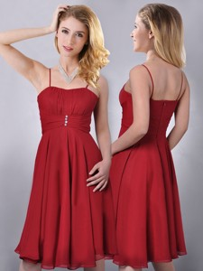 Cheap Spaghetti Straps Knee Length Chiffon Bridesmaid Dress In Red