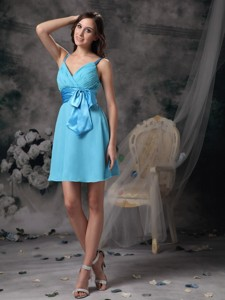 Lovely Aqua Blue Empire Straps Prom / Homecoming Dress Chiffon Bowknot Mini-length