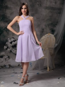 Simple Lilac Empire V-neck Prom / Homecoming Dress Chiffon Mini-length