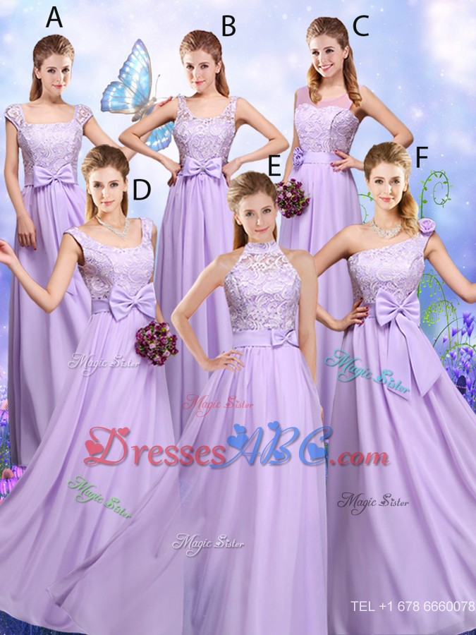 Laced And Bowknot Bridesmaid Dress With Empire