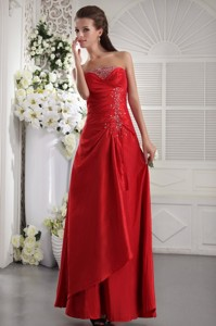 Red Column / Sheath Strapless Ankle-length Taffeta Beading Prom / Evening Dress