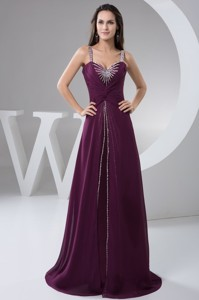 Purple Brush Train Prom Evening Dress with Ruches and Beading