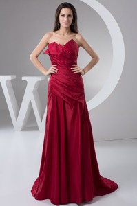 Ruches Brush Train Prom Celebrity Dress in Wine Red for Cheap