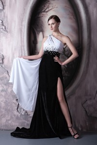 Popular White and Black Evening Dress One Shoulder Beading Chiffon and Elastic Woven Satin Brush Tra