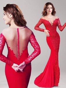 See Through Scoop Long Sleeves Lace Evening Dress In Red