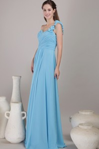Baby Blue Empire One Shoulder Floor-length Chiffon Ruched Bridesmaid Dress