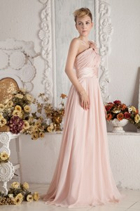 Baby Pink Empire One Shoulder Brush Train Chiffon Hand Made Flowers And Ruch Bridesmaid Dress