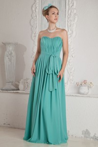 Turquoise Empire Sweetheart Ruch And Sash Bridesmaid Dress Floor-length Chiffon