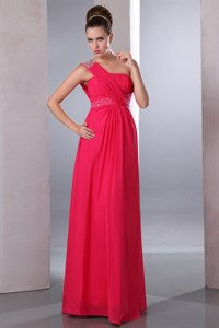 Hot Pink Empire One Shoulder Beading Bridesmaid Dress Floor-length Chiffon