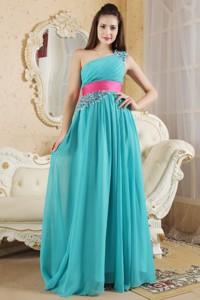 Teal Empire One Shoulder Bridesmaid Dress Chiffon Ruch And Beading Floor-length