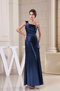 Navy Blue One Shoulder Column Mother of the Bride Dress Beaded