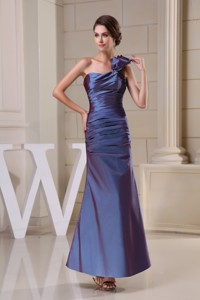 One Shoulder Ankle-length Ruched Mother of the Bride Dress