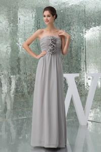Ruches and Flowers Accent on Long Chiffon Mother Bride Dress