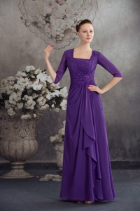 Simple Empire Square Long Purple Mother Of The Bride Dress With Beading
