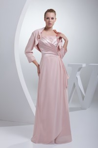 Beading And Ruching Straps Baby Pink Long Mother Of The Bride Dress