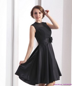 Perfect Black Knee Length Mother Of The Bride Dress With Bowknot