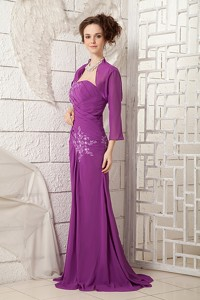 Bright Purple Mother Of The Bride Dress Column One Shoulder Chiffon Appliques Brush Train