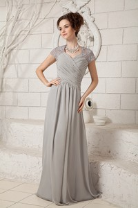 Grey Column V-neck Floor-length Chiffon Lace Mother Of The Bride Dress