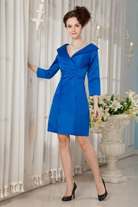 Peacock Blue Column V-neck Mini-length Taffeta Ruch Mother Of The Bride Dress