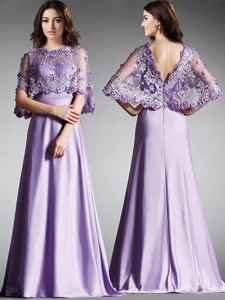 Hot Sale Scoop Half Sleeves Lace Mother Of The Bride Dress In Lavender