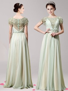 Lovely Scoop Short Sleeves Appliques Mother Of The Bride Dress In Apple Green For Spring